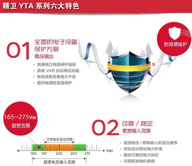 科华YTR1110 UPS不间断电源 10KVA/8KW 在线式高频电源长机外接蓄电池 科华UPS电源YTR1110长示例图1