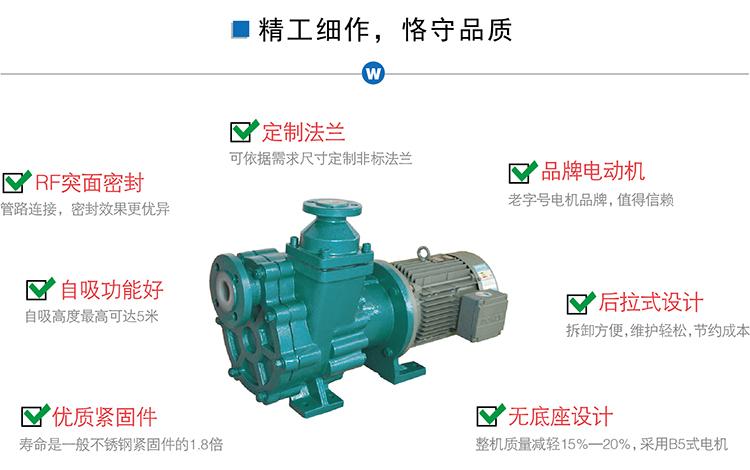 氟塑料磁力自吸泵,ZMD型防腐蝕耐酸堿泵,襯氟化工防泄露磁力驅動泵示例圖3