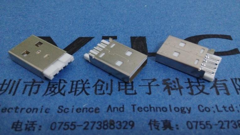 A公短体焊线式USB(普通AM USB短体焊线式插头)焊线式USB公头示例图1
