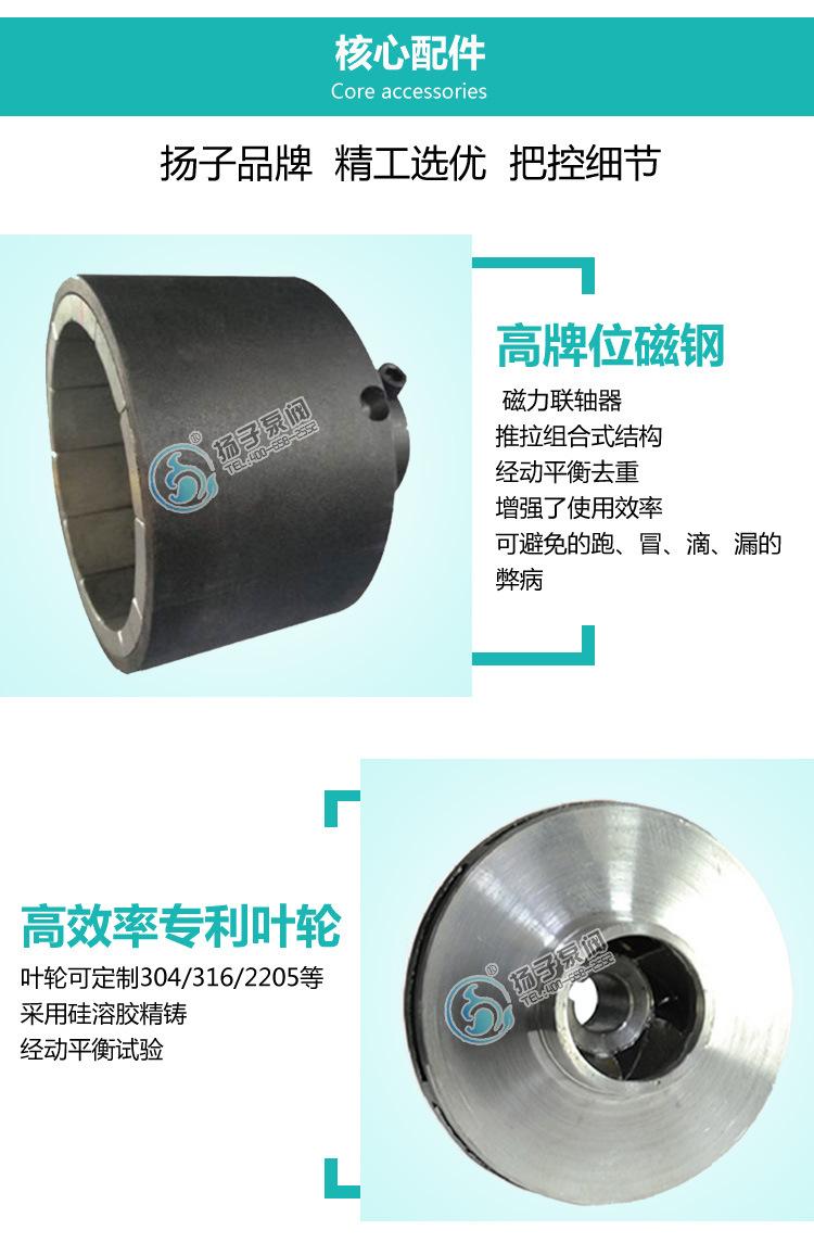 不锈钢磁力泵 316L不锈钢耐腐蚀碱液泵 耐高温化工磁力泵 烧碱泵示例图7