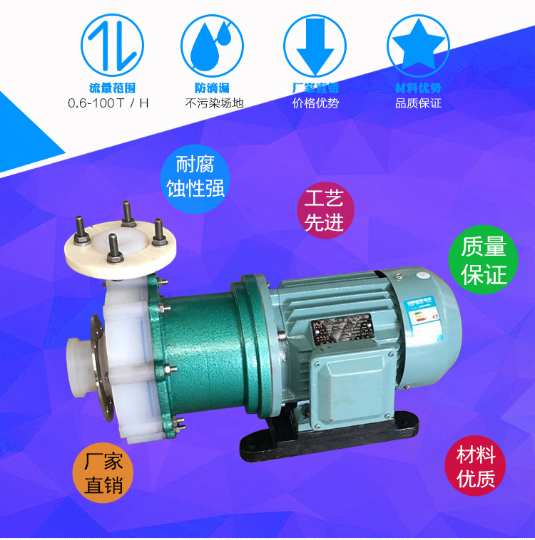 CQB25-20-100F四氟泵 耐酸堿防腐蝕泵 氟塑料磁力驅動泵 工業抽酸泵化工水泵示例圖2
