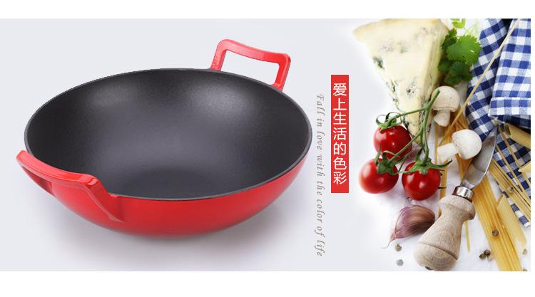 铸铁珐琅红色双耳生铁炒锅炒菜炖锅电磁炉通用锅具鑄鐵鍋出口定制示例图2