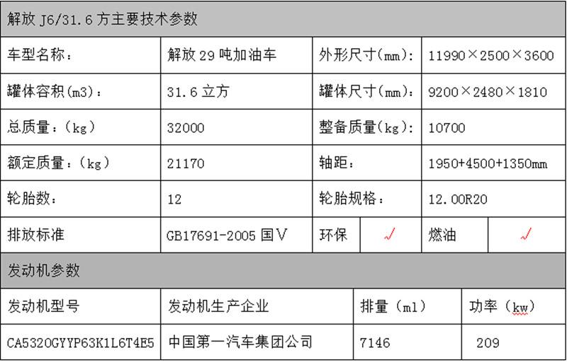 解放J6鋁合金油罐車參數表