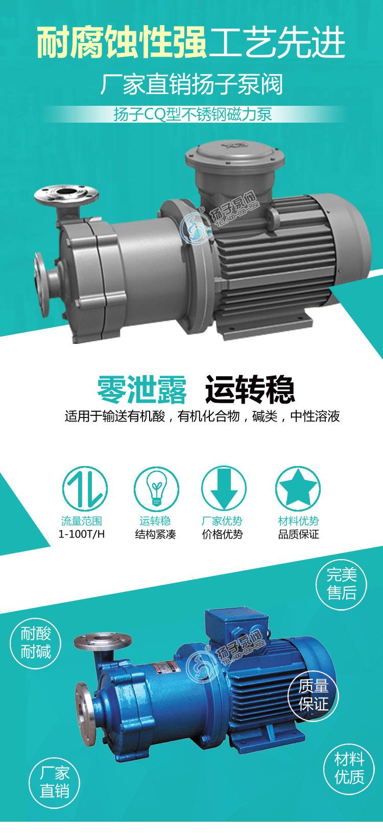50CQ-50磁力循环泵 cq不锈钢防爆食品级医用防腐蚀无泄漏磁力水泵示例图1