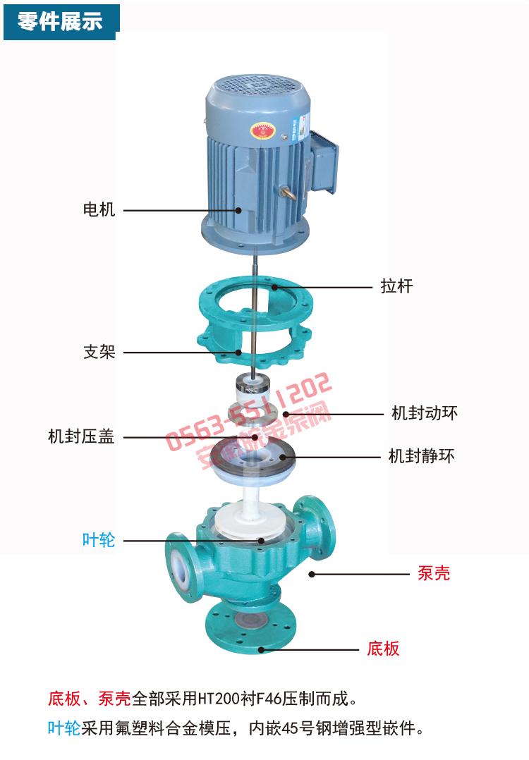 氟塑料管道泵GDF型 防腐蝕耐酸堿立式化工泵 襯四氟離心工業增壓泵示例圖16