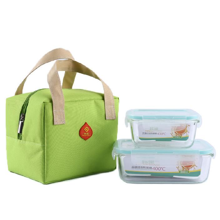 韩巢新品大容量冰包便携保温饭盒耐热玻璃密封保鲜盒套装便当盒图片