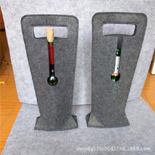 新款单支毛毡红酒袋红酒包装葡萄酒礼盒布袋礼品袋拎袋现货批发示例图10