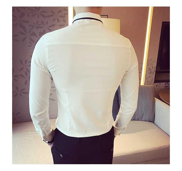 秋季男士长袖白色衬衫修身商务黑色衬衣网红社会潮流衬衫休闲韩版示例图17