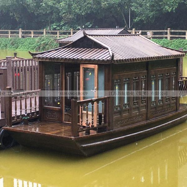 观光画舫船 仿古电动游船 水上房船 水上餐饮船