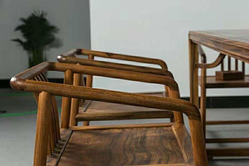 南美胡桃木精美茶桌六件套竞技宝和雷竞技哪个好原木休闲泡茶桌示例图5