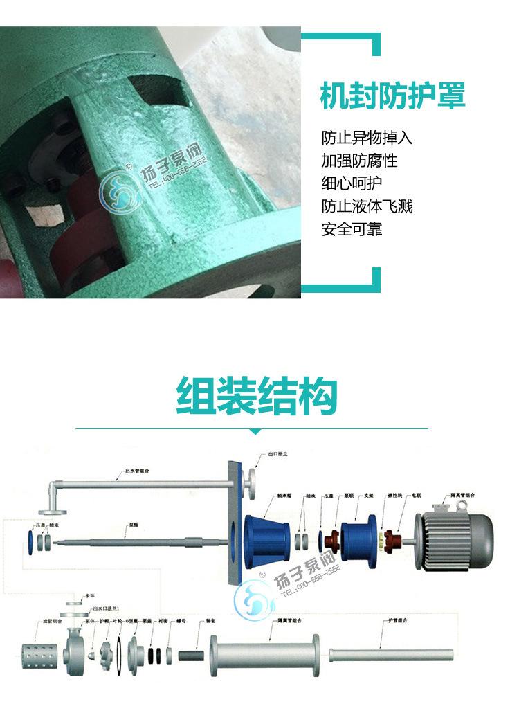 25LHY-15氟塑料耐腐蚀液下泵边立式立式长轴液下泵耐酸碱液下泵示例图8