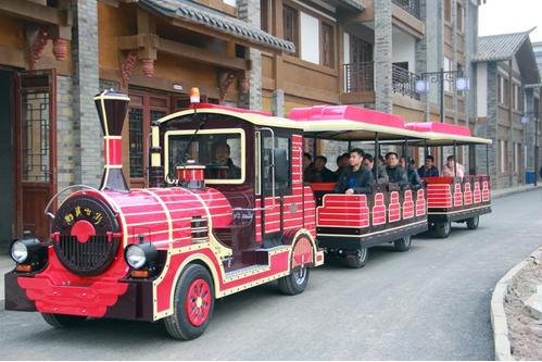 2020仿古观光火车儿童游乐设备 郑州无轨观光火车大洋生产厂家直销游艺设施示例图10