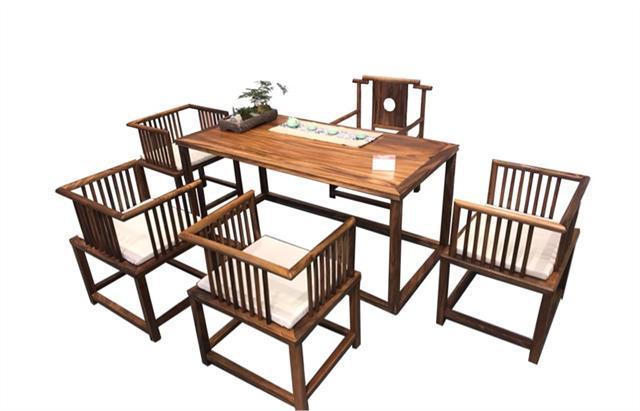 南美胡桃木茶桌六件套168*68*72可拆卖现代简约茶几竞技宝和雷竞技哪个好茶桌组合示例图13