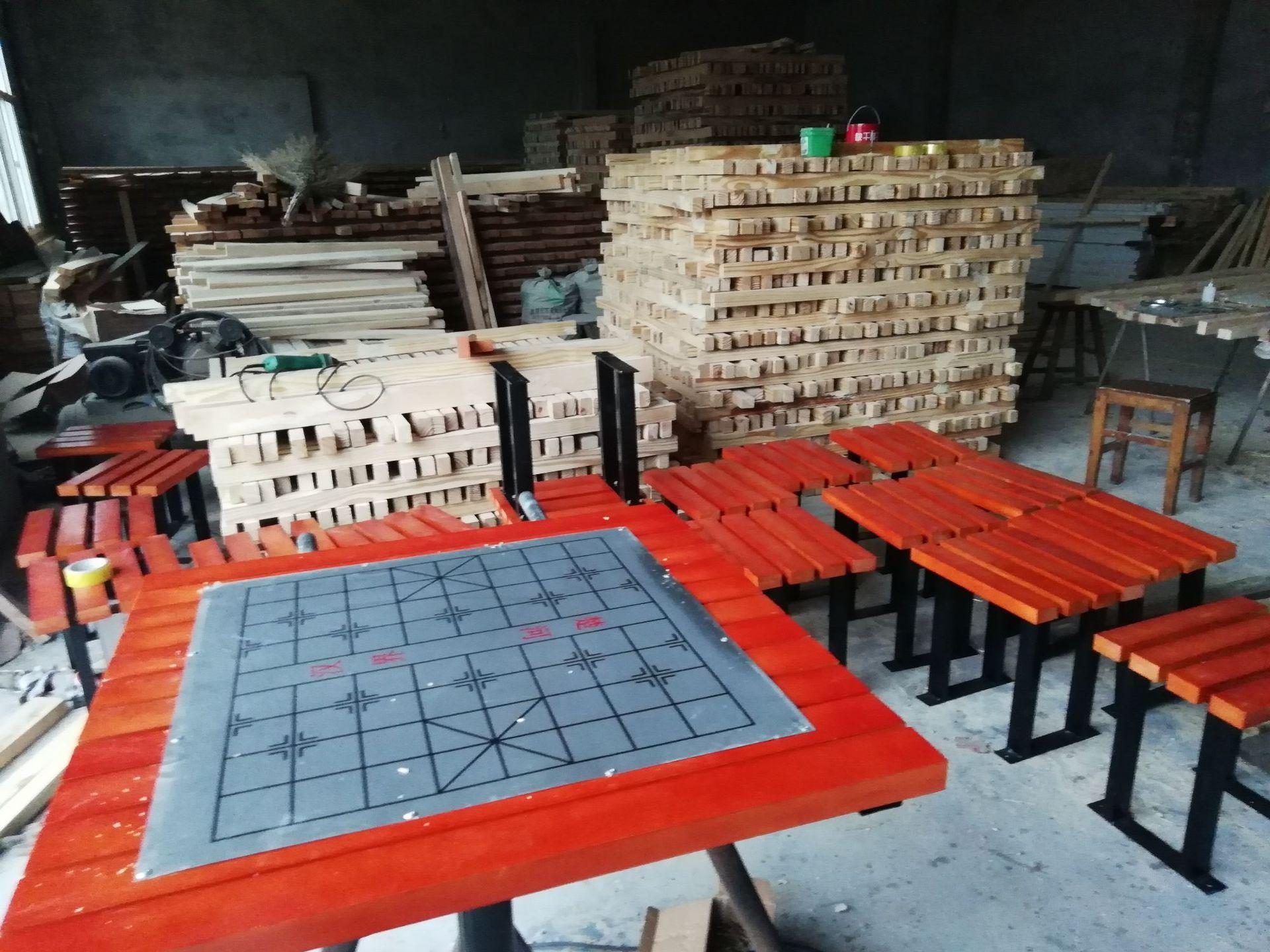 长期供应户外防腐木休闲椅 公园小区座椅 长椅 铸铁腿 实木 塑木示例图12