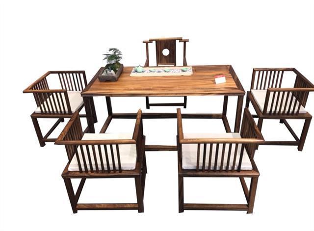 南美胡桃木茶桌六件套168*68*72可拆卖现代简约茶几实木茶桌组合示例图11