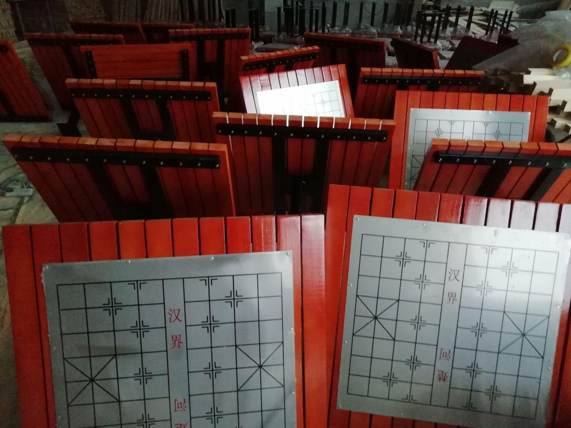 长期供应户外防腐木休闲椅 公园小区座椅 长椅 铸铁腿 实木 塑木示例图11