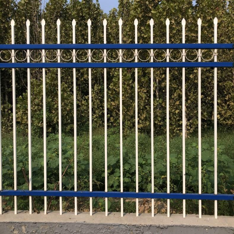 厂家生产 锌钢护栏 栅栏小区 别墅厂区室外绿蓝白喷塑铁艺围栏示例图5