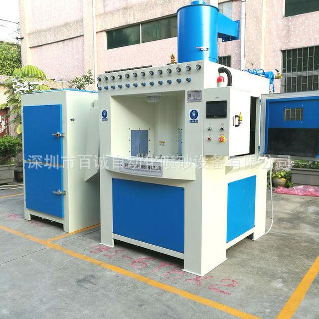 百誠噴砂機廠家直銷大型轉盤自動噴砂機 酒杯酒瓶表面處理噴砂機