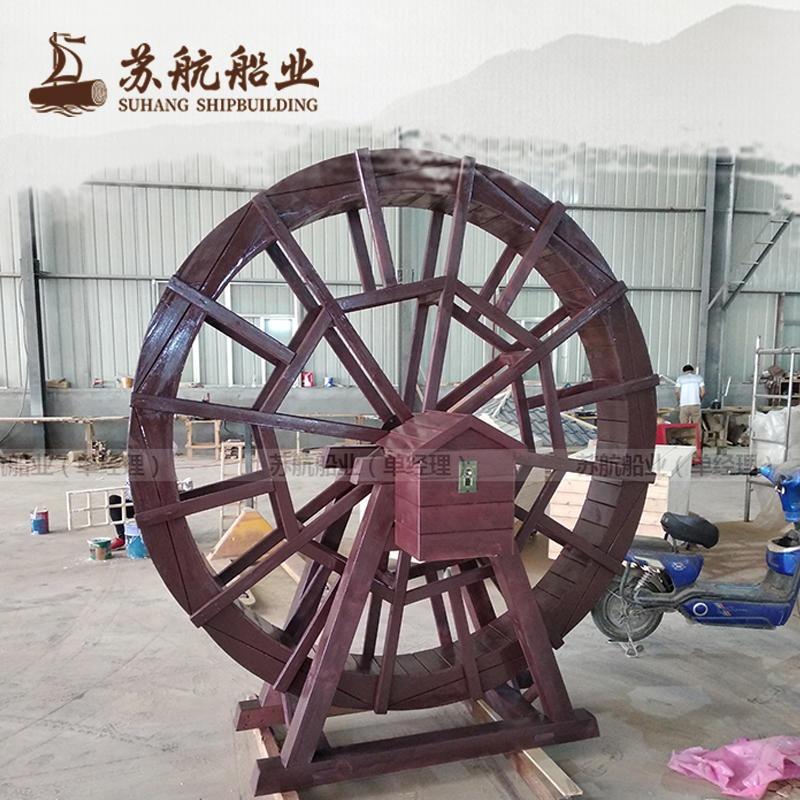 景觀水車木質小水車生產廠家 2米防腐木水輪車 電動防腐木水車 木制風水輪定制