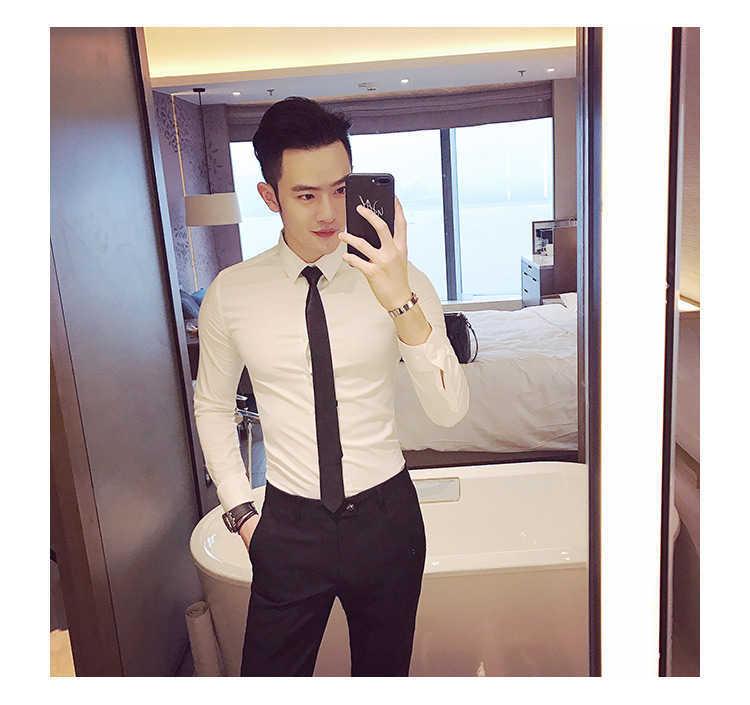 秋季男士长袖白色衬衫修身商务黑色衬衣网红社会潮流衬衫休闲韩版示例图19