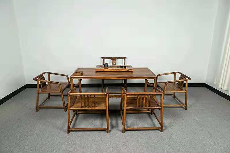 南美胡桃木精美茶桌六件套竞技宝和雷竞技哪个好原木休闲泡茶桌示例图2