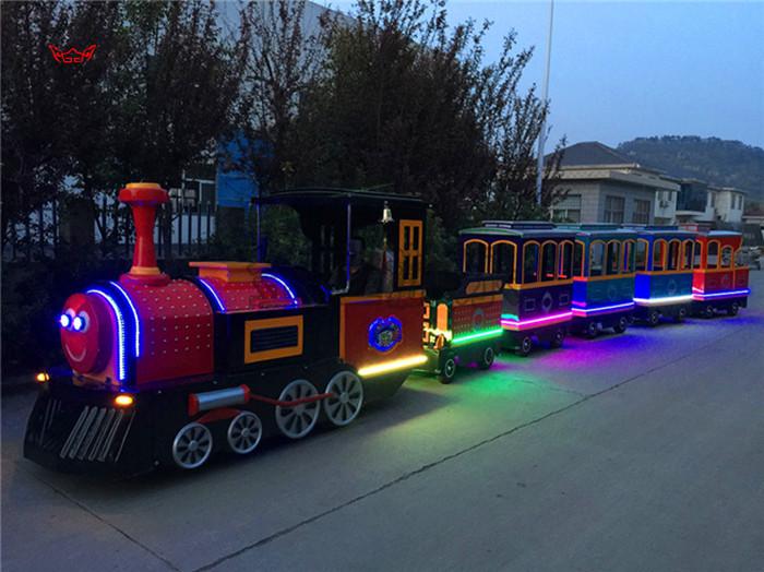 2020仿古观光火车儿童游乐设备 郑州无轨观光火车大洋生产厂家直销游艺设施示例图4