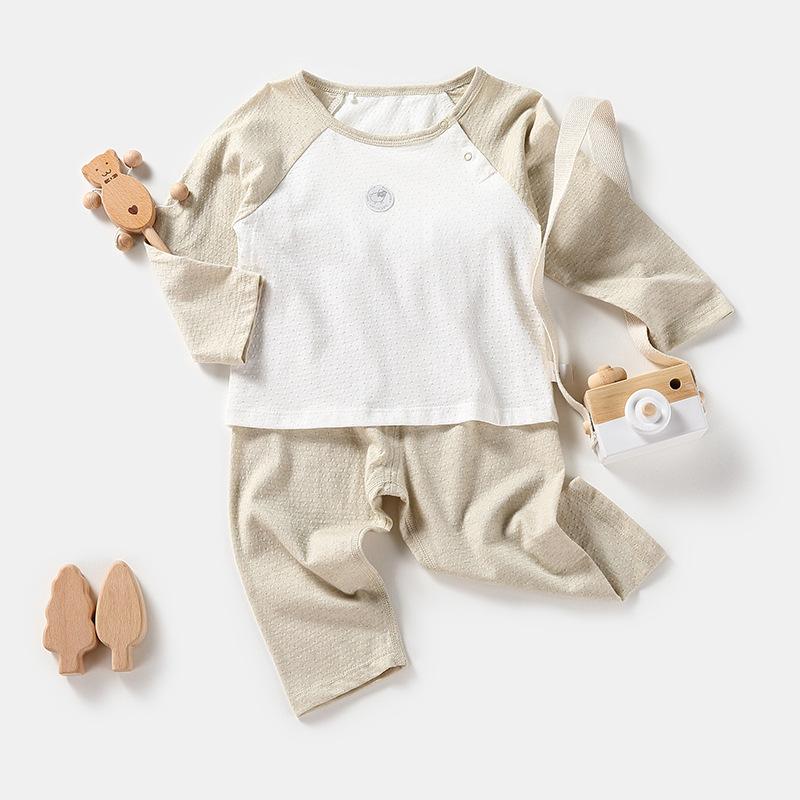 童套装春季新款 天然彩棉婴儿衣服可开当裤子家 中小童居服批发