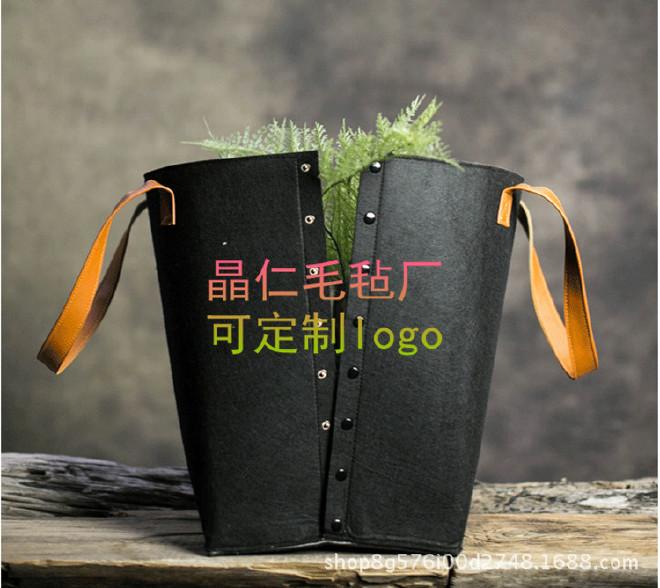 日式毛毡可折叠收纳箱脏衣篮收纳筐 家用脏衣桶 两色可选示例图2