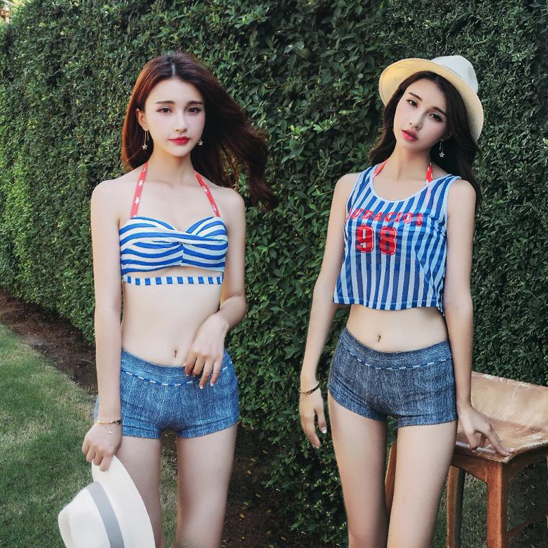 泳衣女三件套比基尼罩衫保守分体平角裤遮肚显瘦小胸聚拢温泉泳装