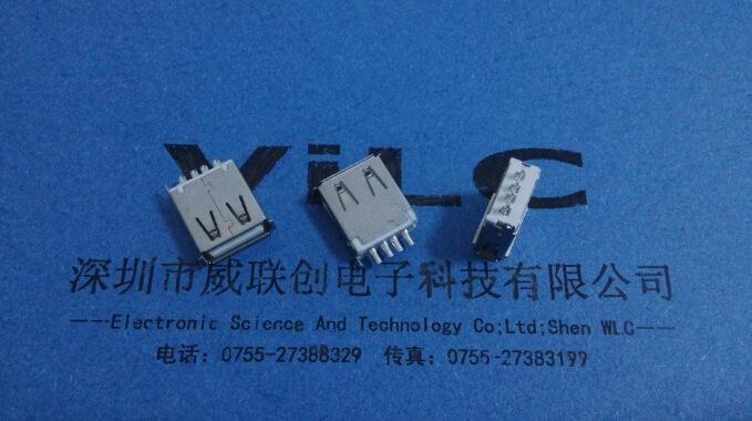 USB直插A母180度USB(13.0-13.7-15.0)加长USB弯脚 红色彩色胶示例图4