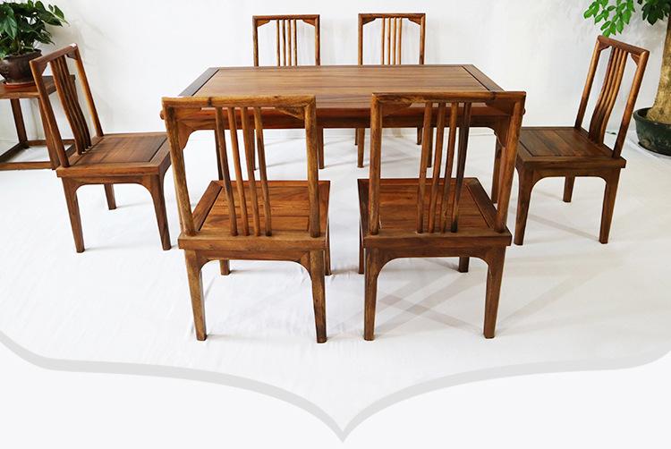 新中式餐桌榫卯工艺胡桃木餐桌7件套 批发实木简约餐桌餐椅组合款示例图12
