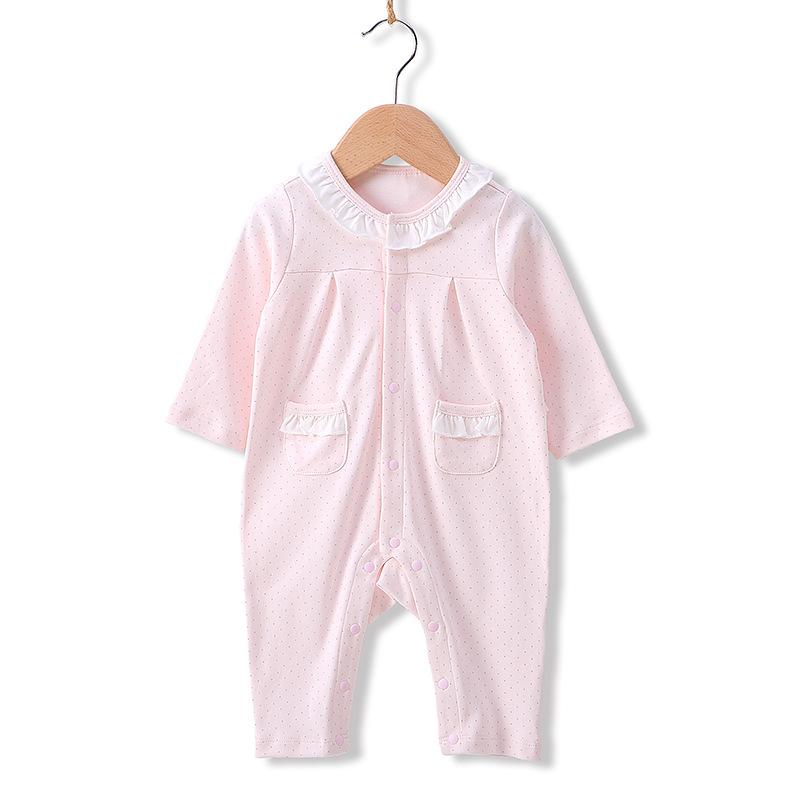 A类一等品高品质秋季新款女宝宝公主哈衣婴儿连体衣全棉婴儿衣服