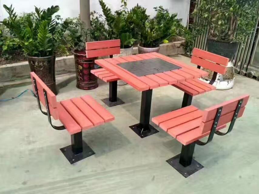 长期供应户外防腐木休闲椅 公园小区座椅 长椅 铸铁腿 实木 塑木示例图2