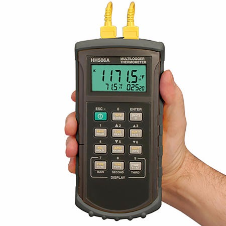 HH506A溫度計 HH506A數顯溫度計帶記錄 美國Omega雙通道溫度表