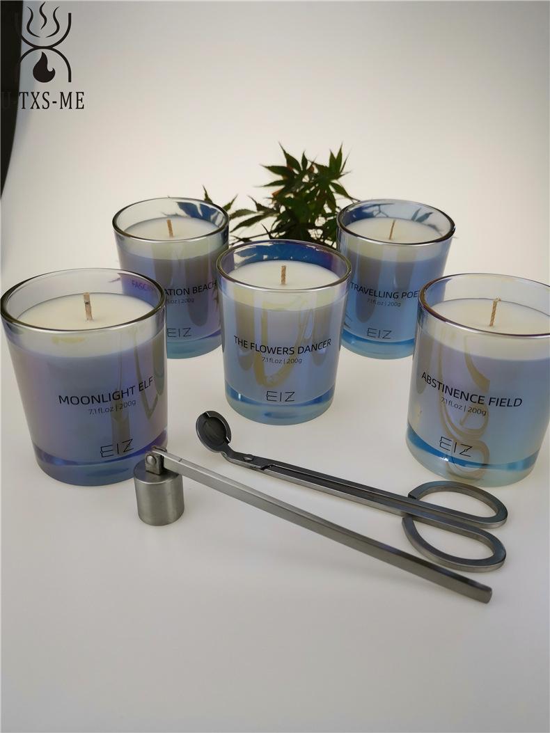工厂定制七彩珠光玻璃杯家居植物精油环保进口大豆蜡爱博体育手机端下载蜡烛示例图3
