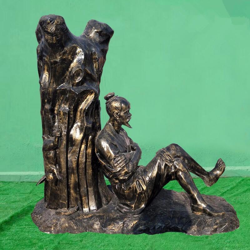 守株待兔雕塑 寓言故事雕塑小品 传统典故雕塑 唐韵园林