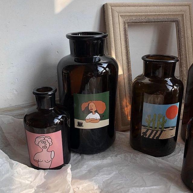 花瓶盆栽瓶插畫茶色試劑復古風棕色花瓶  水培花瓶 花器 玻璃花瓶