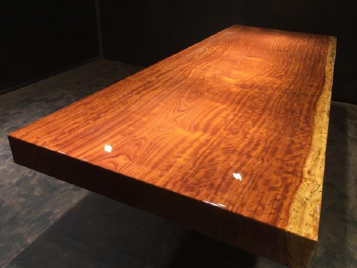 奥坎实木大板原木餐桌 中式茶桌 老板办公家具套装组合巴花大板示例图11