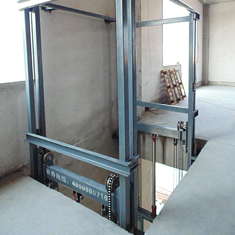 壁掛導軌式升降機鏈條式貨物提升平臺倉庫上貨設備廠房液壓舉升機示例圖11