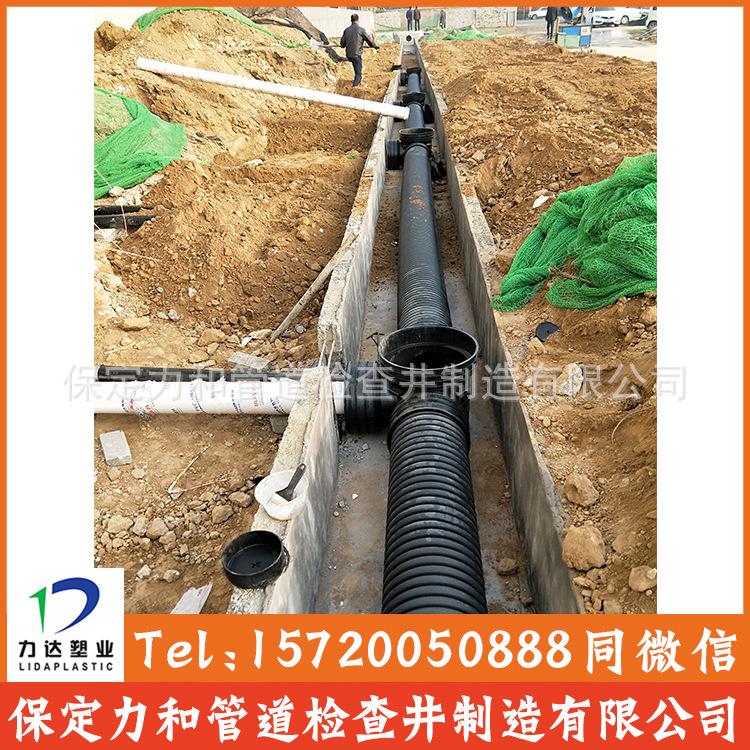 厂家直销大口径耐酸碱内外黑色排水排污市政工程用HDPE双壁波纹管示例图11