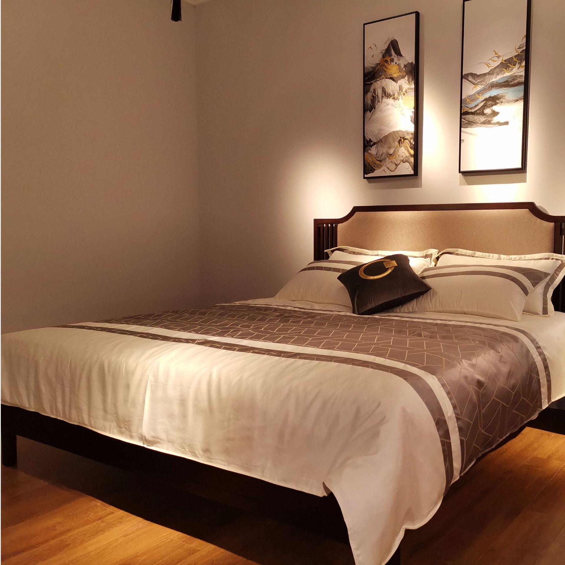 现代新中式实木床 简约卧室双人床 大婚床乌金木家具 可定制示例图6