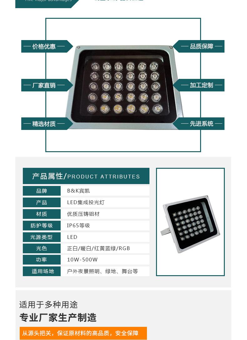 厂家批发户外照明防水 LED 50W大功率集成投光灯 LED集成投射灯示例图2
