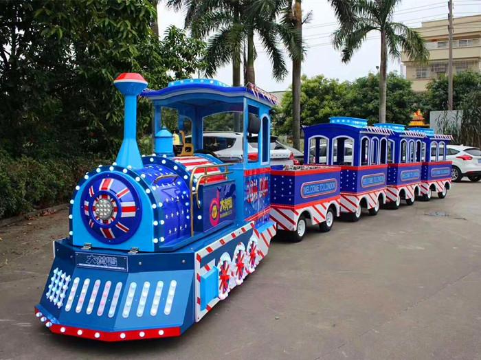 2020销售火爆儿童仿古观光小火车 大洋户外游乐无轨观光火车项目游艺设施厂家设备示例图5