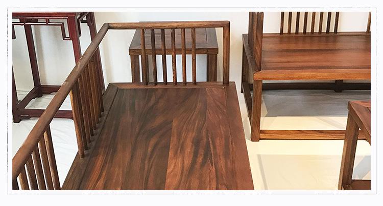 南美胡桃木沙发七件套客厅家具 新中式榫卯工艺实木沙发家具批发示例图18