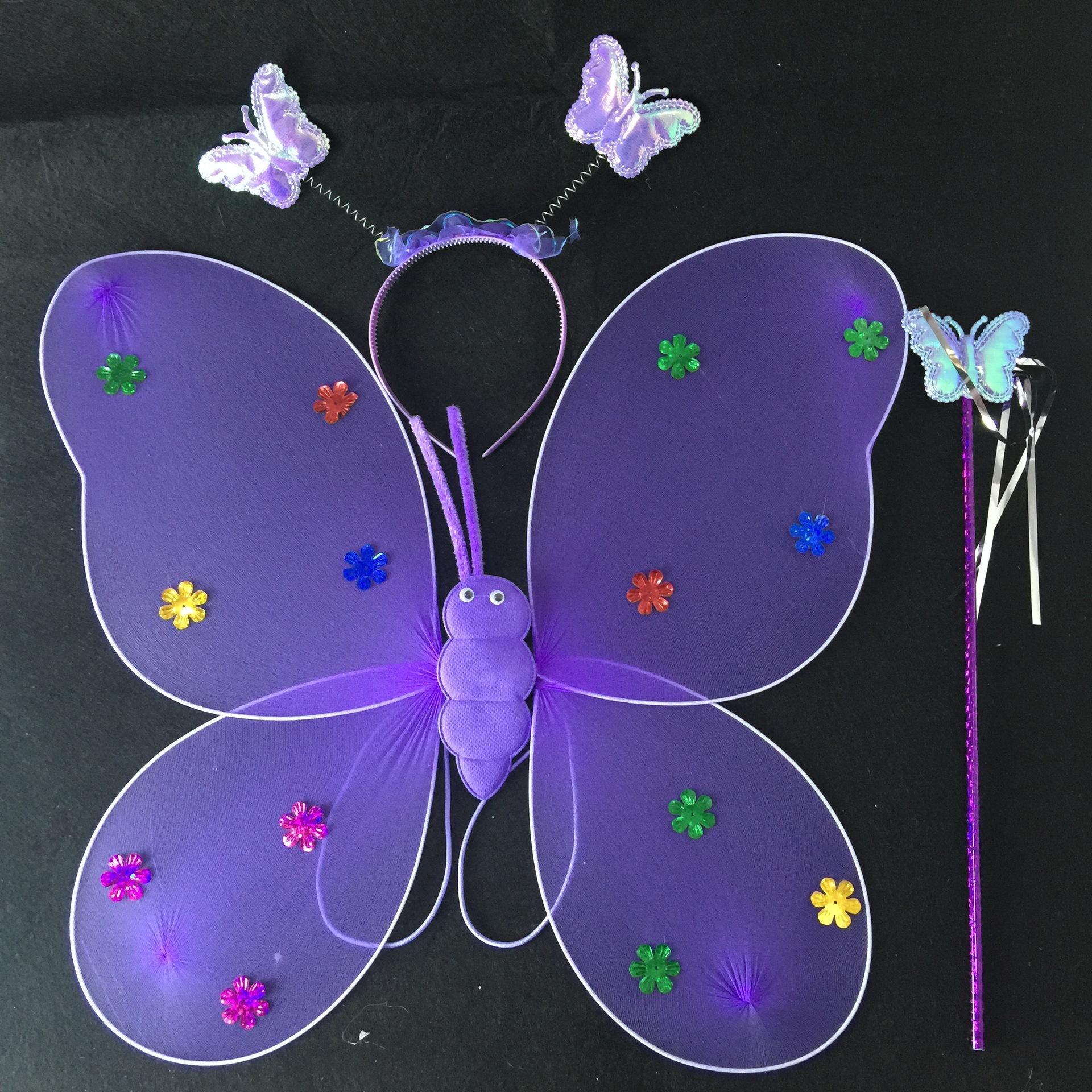 地摊火爆幼儿园景区舞蹈表演道具丝网单层天使蝴蝶翅膀三件套示例图5