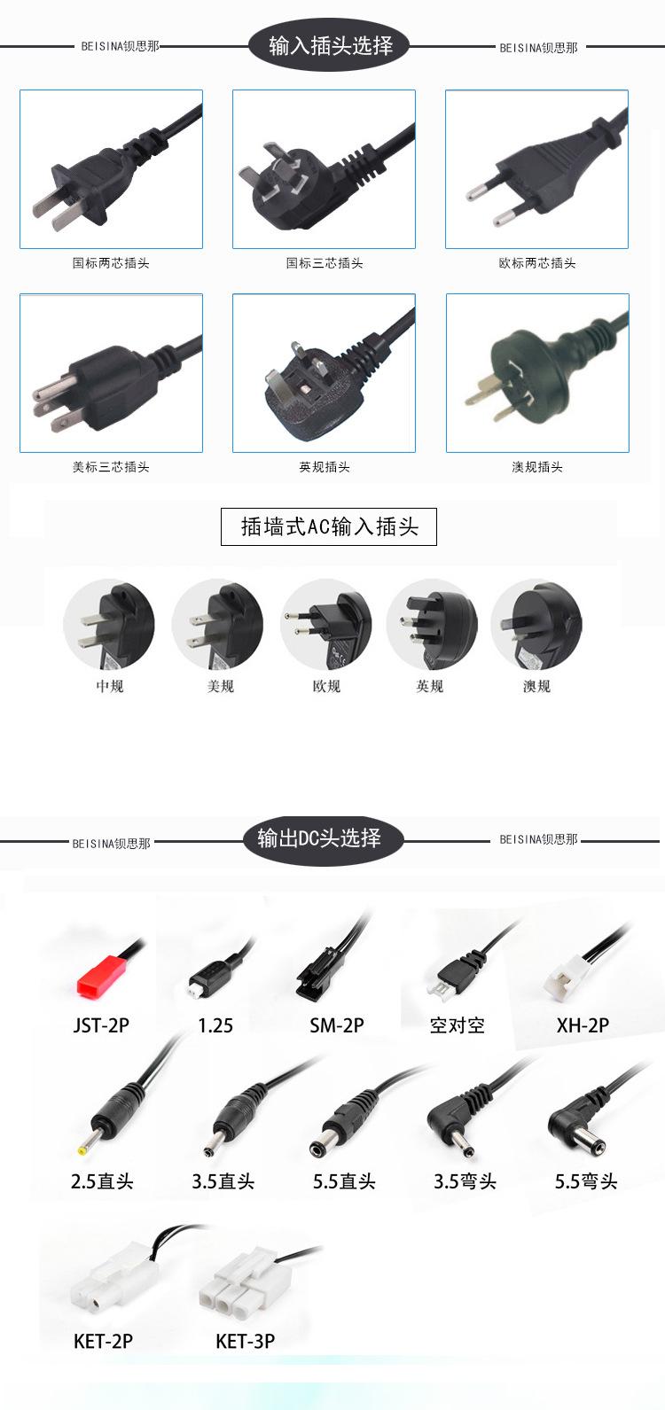 供应12v5a电源适配器 60W过3C认证白色充电器 12V60W插墙式适配器示例图9