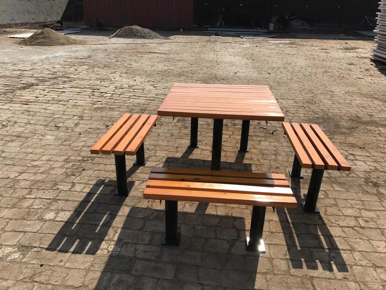 长期供应户外防腐木休闲椅 公园小区座椅 长椅 铸铁腿 实木 塑木示例图3