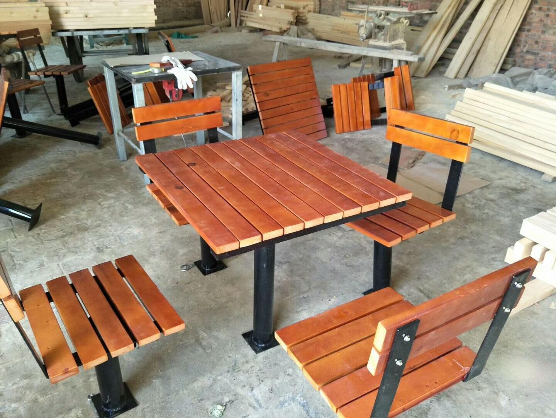 长期供应户外防腐木休闲椅 公园小区座椅 长椅 铸铁腿 实木 塑木示例图6