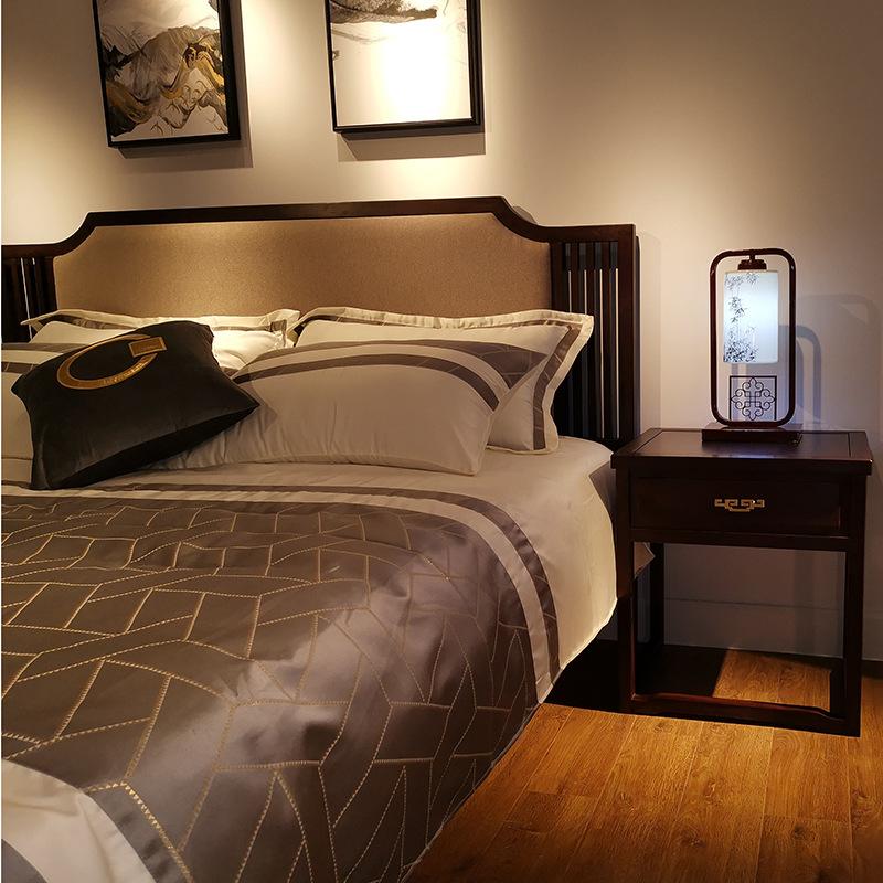 现代新中式实木床 简约卧室双人床 大婚床乌金木家具 可定制示例图2