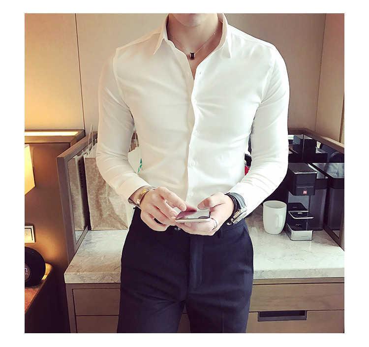 秋季男士长袖白色衬衫修身商务黑色衬衣网红社会潮流衬衫休闲韩版示例图4